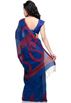 Blue Pure Matka Silk Bengal Handloom Saree with Blouse: Indian Clothes, Indian Outfits, Indian Saris, Handloom Saree, Bengal, Saree Blouse, Sarees, Pure Products, Silk