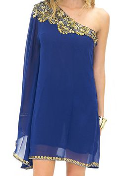 JASMIN BEADED ONE SHOULDER DRESS - Navy