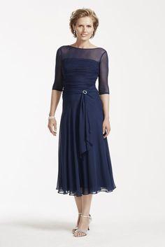 Tea Length Chiffon Dress with Sash Detail Style AWYEC23
