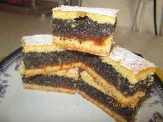 Prajituri de casa: Prajitura cu mac si gem de caise Romanian Desserts, Romanian Food, Romanian Recipes, Mac, Cake Recipes, Dessert Recipes, Food Cakes, Baked Goods, Sweet Treats