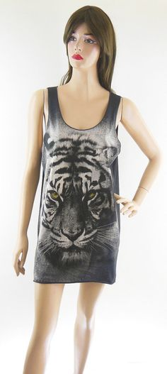 Tiger T-Shirt Art Animal Tank Top Tiger Shirt Tiget T-Shirt Dark Brown T-Shirt Tunic Screen Print Size M