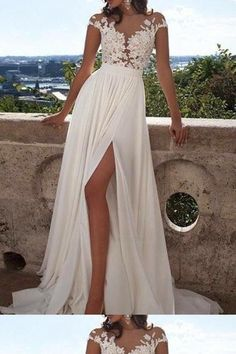 Lace Wedding Dress, Wedding Dress For Cheap, Wedding Dress Chiffon Wedding Dresses 2018 Wedding Dress Chiffon, White Lace Wedding Dress, Wedding Gowns With Sleeves, Prom Dresses Long With Sleeves, Elegant Prom Dresses, Applique Wedding Dress, Long Wedding Dresses, Cheap Prom Dresses, Cheap Wedding Dress