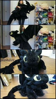 So this girl made a giant stuffed Toothless. - how to train your dragon 2 - Plush