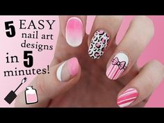 FIVE IN FIVE   Easy Pink Nail Art Designs   Nailed It NZ - YouTube