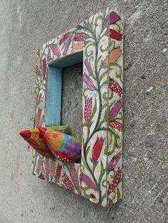Love Birds On Flowers In Frame Rustic Wooden Hanging by Popielnik