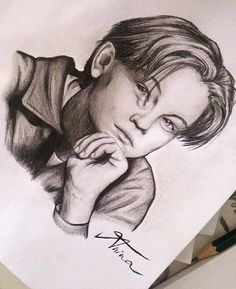 Drawing of young Leonardo DiCaprio by @Artistinx