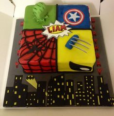 Marvel cake! So cool.  http://cakesdecor.com/cakes/115545-marvel-cake