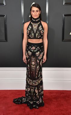 Lea Michele from Grammys 2017 Red Carpet Arrivals  In Roberto Cavalli