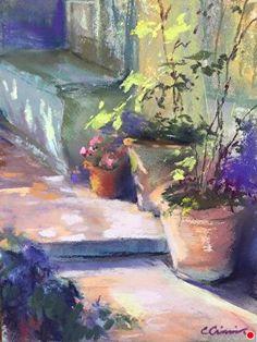 Sorolla& Garden by Cindy Crimmin ~ 8 x 6 - Aquarellbilder/Watercolors Pastel Landscape, Watercolor Landscape, Abstract Landscape, Watercolor Flowers, Landscape Paintings, Watercolor Paintings, Summer Landscape, Watercolour, Garden Painting