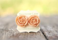 Large Peach Rose Flower Stud Earrings // by peachtreelane on Etsy, $8.00