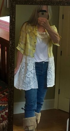 Upcycled repurposed altered shirt with lace tablecloth. Top is a size small and looks best worn open. It is shown on me and I wear smalls to mediums in tops. Redo Clothes, Clothes Crafts, Reuse Old Clothes, Diy Lace Shirt, Shirt Extender, Altered T Shirts, Shirt Makeover, Dress Makeover, Shirt Refashion