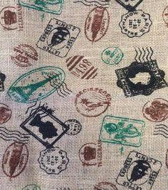 Utility Fabric- Vintage Stamps Burlap