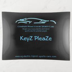 Luxury Car logo - Ice Blue Sports Car on black Trinket Tray