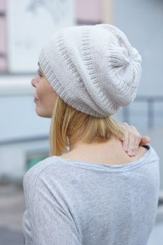 Hand knit women hat white beani women hat beret by SockClub