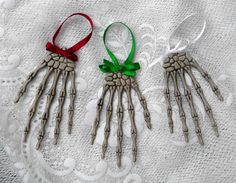 Gothic Ornaments Skeleton Hand Set of 3 Gothic by GustavosGoods, $10.00