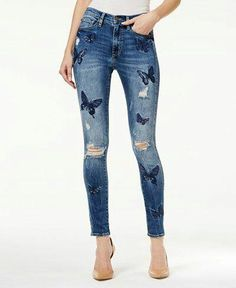 Denim butterfly blue embroidered ripped and distressed jean