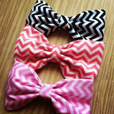 Black/Pink or Salmon PICK ONE handmade fabric bow tie hair bow Pick One. $4.00, via Etsy.