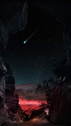 Night Shooting Star Starry Sky View - IPhone Wallpapers