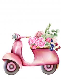 Vespa Style Pink Scooter With Flowers In The Trunk Tumbrl Girls, Printable Scrapbook Paper, Candy Drawing, Christmas Drawing, Fashion Wall Art, Instagram Blog, Watercolor Paintings, Watercolor Flowers, Digi Stamps
