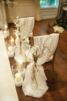 Ceremony Chairs, Chair Covers, Candle Lined Aisle, Wedding Ceremony Ideas www. Wedding Ceremony Chairs, Romantic Wedding Receptions, Wedding Table, Gold Wedding, Wedding White, Trendy Wedding, Wedding Isle Decorations, Chair Decoration Wedding, Chateau Wedding Inspiration