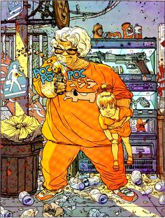 The incredibly detailed and darkly humorous illustration of Geof Darrow. He worked on concept art for The Matrix, and also worked with Frank Miller on two comics, Hard Boiled and Big Guy and Rusty the Boy Robot.