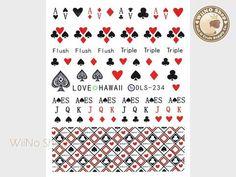 Poker Water Slide Nail Art Decals - 1pc (DLS-234)