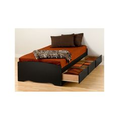Prepac Extra Long Twin Storage Bed Black