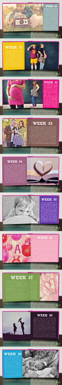 LOVE this idea...week by week journaling with a photo during a pregnancy...so creative! :)