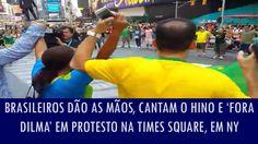 Brasileiros dão as mãos, cantam o Hino e 'Fora Dilma' em protesto na Tim...