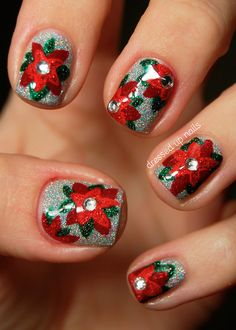 Poinsetta Holiday Nail Art