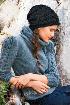 комбинированный комплект — вязаный свитер и шапочка спицами
