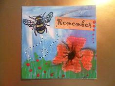 Remember - mixed media, bee, bees, poppy