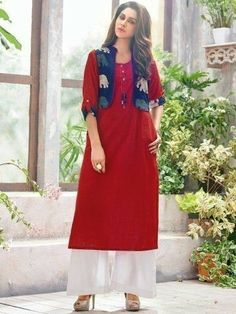 Retro Red & Blue Cotton Linen Kurti with Jacket Salwar Designs, Blouse Designs, Dress Designs, Red Kurti, Kurti With Jacket, Kurta Style, Kurti Patterns, Sewing Patterns, Shrug For Dresses