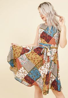 Girl Meets Twirl A-Line Dress in Patchwork. It was a wonderfully chance meeting that you and this multicolored dress found each other, as you were looking for the perfect look in which to turn and twirl! #multi #modcloth