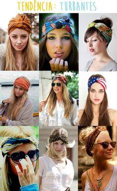 Belas cores, estampas e formas de amarrar, turbantes! Um acessório que valoriza o rosto, além de bonito protege a cabeça do sol, ótimo para ser usado no verão ou em dias quentes. Alguns dizem ser d...