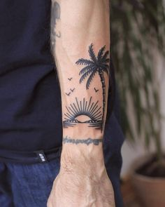 Tatoos by Patryk Hilton - landscape with palm tree goodvibes sunset tattoo by patryk hilton - Forarm Tattoos, Dope Tattoos, Trendy Tattoos, Leg Tattoos, Body Art Tattoos, Sleeve Tattoos, Tatoos, Forarm Sleeve Tattoo, Asian Tattoo Sleeve