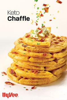 Chaffle? Cheese plus waffle equals a chaffle! Enjoy a cheesy, savory waffle topped with chive cream cheese spread, or make two for a sandwich! Savory Waffles, Waffle Toppings, Cream Cheese Spreads, Homemade Breakfast, Almond Flour, Cheddar Cheese, Main Dishes, Bacon, Sandwiches