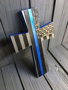 12 inch Thin Blue Line Leather cross with wood by sobleather Police Wife Life, Police Family, Police Girlfriend, Police Lives Matter, Police Officer Gifts, Police Gear, House Ideas, Wall Crosses, Thin Blue Lines