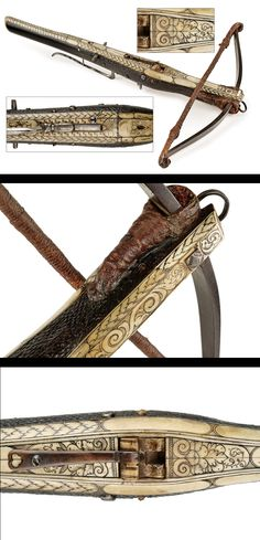 A beautiful crossbow, provenance: Germany dating: first quarter of the 17th Century. Medieval Crossbow, Medieval Weapons, Archery Hunting, Archery Arrows, Deer Hunting, Recurve Bows, Landsknecht, Traditional Archery, Bow Arrows