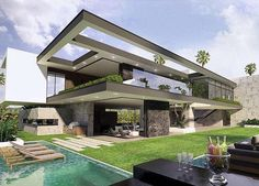 Dream House Exterior, Dream House Plans, Beautiful Home Designs, Beautiful Homes, Modern Villa Design, Luxury Homes Dream Houses, Luxury Estate, Grand Homes, House Layouts