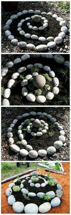 Spiral Rock Garden <3 http://gardendesign.lemoncoin.org/pages/34408-33845-34223-old-enamel-crockery-repurposed-for-life-outdoors-as-garden-art.html