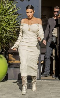 Kim Kardashian from The Big Picture: Today's Hot Photos The reality star looks stunning in an off the shoulder dress while out and about in Westlake.