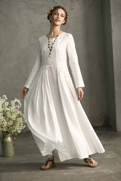 white maxi linen dress pintucks in the waist part - a popular three-dimensional fashion element. front and back maxi length, so flattering Size:You may pick a size from the standard sizes below. White Bridal Dresses, White Linen Dresses, Prom Dresses, White Skirts, Cute White Dress, Elegant Dresses For Women, Elegant Gowns, Maxi Dress Wedding, Fashion Dresses