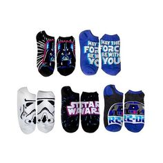 Star Wars Women's 5 Pack No Show Socks ($13) ❤ liked on Polyvore featuring intimates, hosiery, socks, black purple, black socks, purple socks and black hosiery