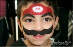Medium Size Face Paint Designs for Boys - Super Mario Boy Face, Child Face, Face Painting For Boys, Body Painting, Easy Face Painting Designs, Simple Face, Nice Face, Kids Makeup, Cartoon Faces