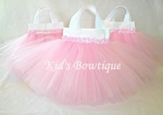 Set of 6 Sweet Baby Pink TUTU Sequins Party Favor Tutu Bags- perfect for baby shower or princess parties!
