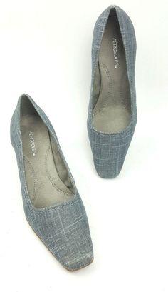 eff2d47a8ff0 Aerosoles shoes 6.5 W gray blue linen comfort heels style name Envy   Aerosoles  PumpsClassics
