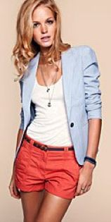Cute coral with chambray blazer