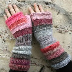 Bubblegum Unmatched Hand Knit Wrist Warmers door WrapturebyInese