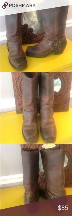$ FIRM GOOD COND bROWN FRYE HARNESS BOOT SZ 5.5 FRYE BOOTS are super comfy and so fun to wear! The boots were worn about ten times as pics reflect. If you tap each pic one time you can zoom in & see that the toes show wear. I think it was from my desk. I am short & prop my feet up. They brushed against the underside of the desk. The heels are not worn down on either side but heels show some marks. You don't notice the heels from a distance but when holding them you will see. Just pointing…